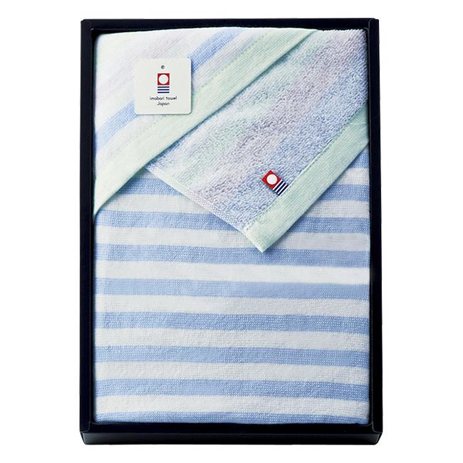 ガーゼとパイルの今治産たおる バスタオル No.20 (ブルー)